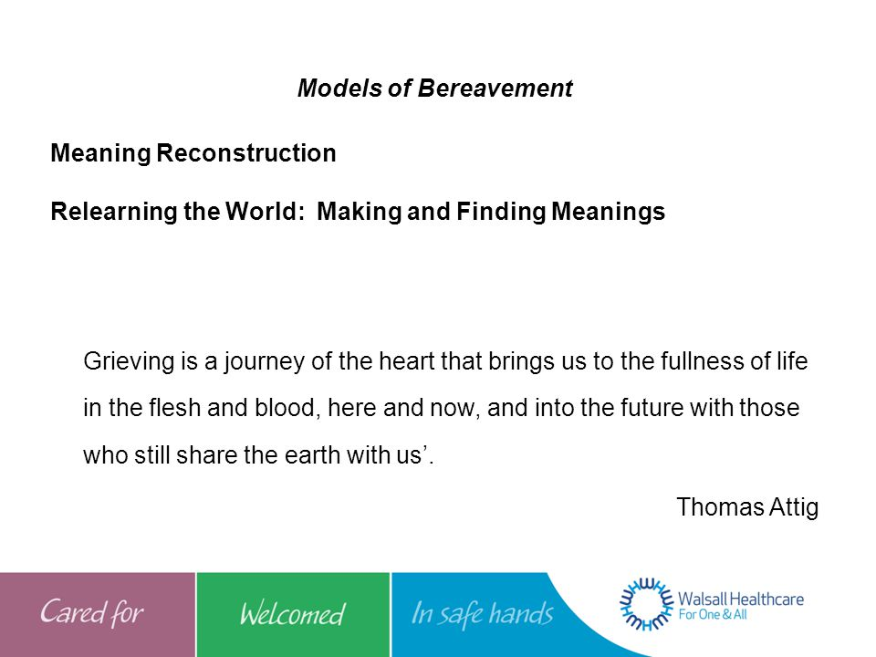Models of Bereavement Meaning Reconstruction. Relearning the World: Making and Finding Meanings.