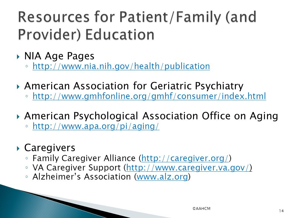 Resources for Patient/Family (and Provider) Education