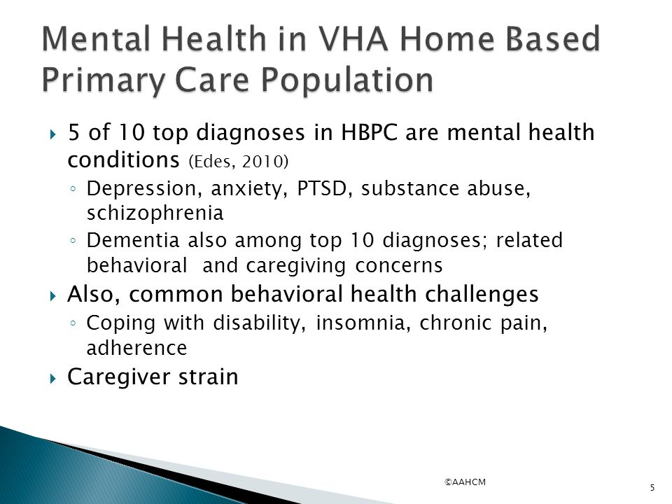 Mental Health in VHA Home Based Primary Care Population