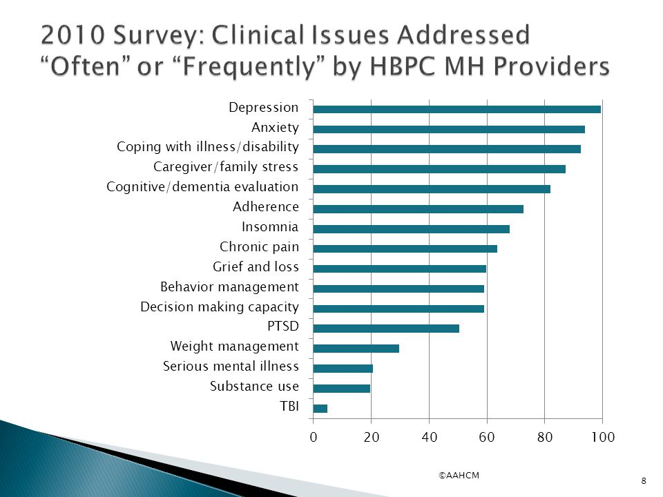 2010 Survey: Clinical Issues Addressed Often or Frequently by HBPC MH Providers