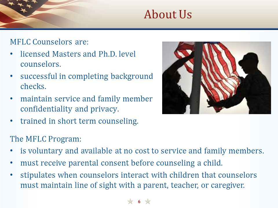 About Us MFLC Counselors are: