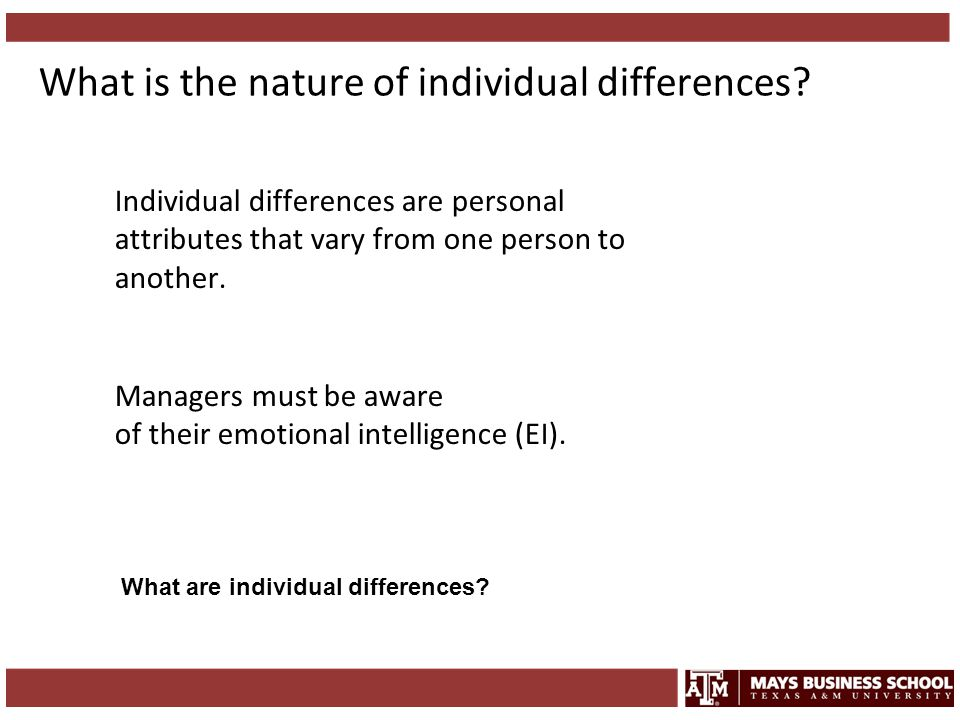 What is the nature of individual differences