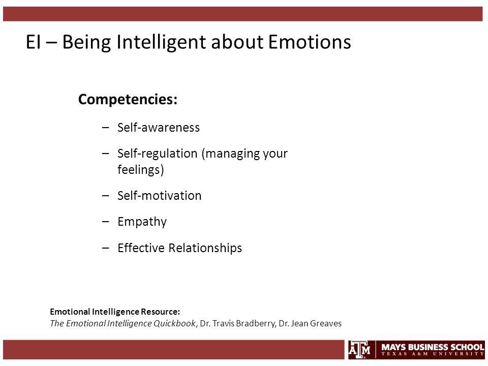 EI – Being Intelligent about Emotions