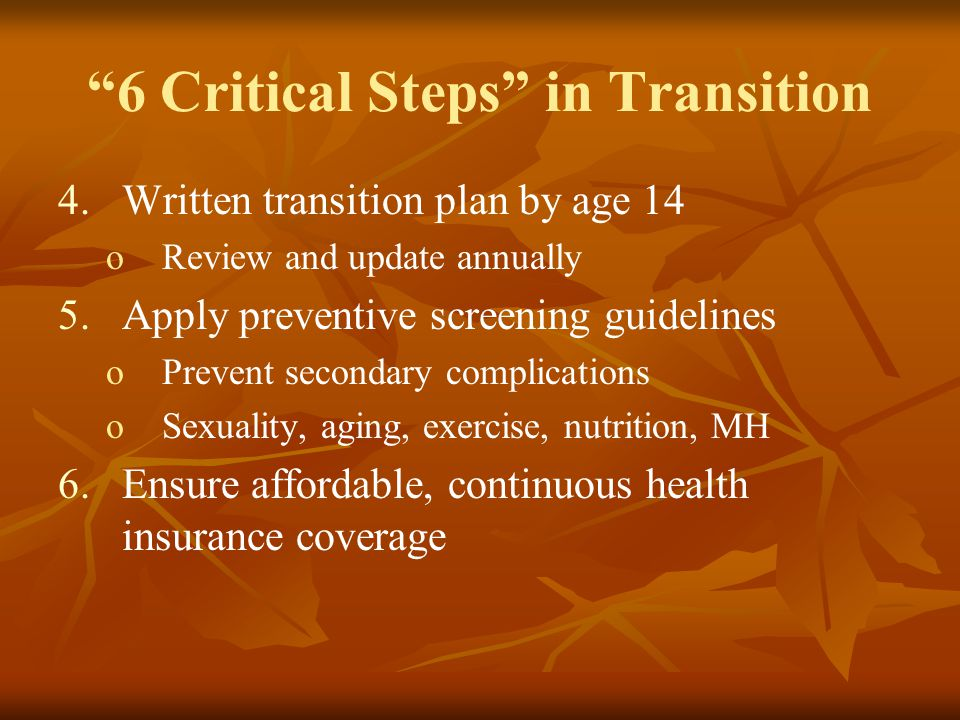 6 Critical Steps in Transition