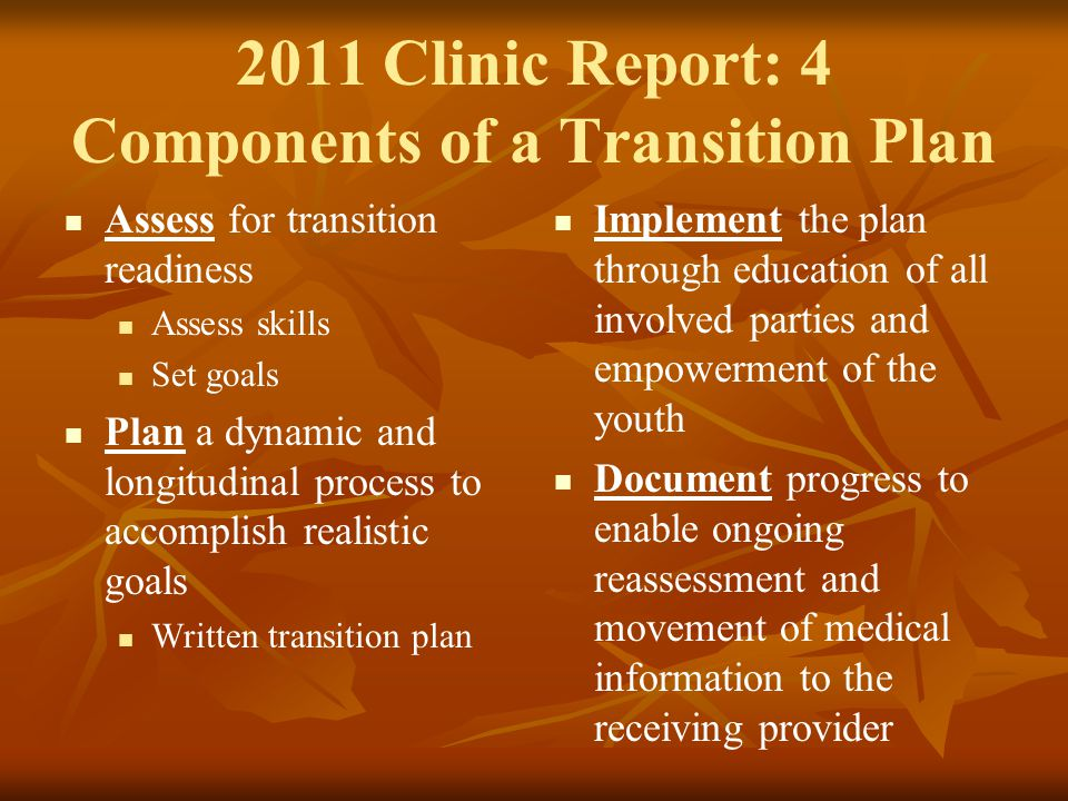 2011 Clinic Report: 4 Components of a Transition Plan