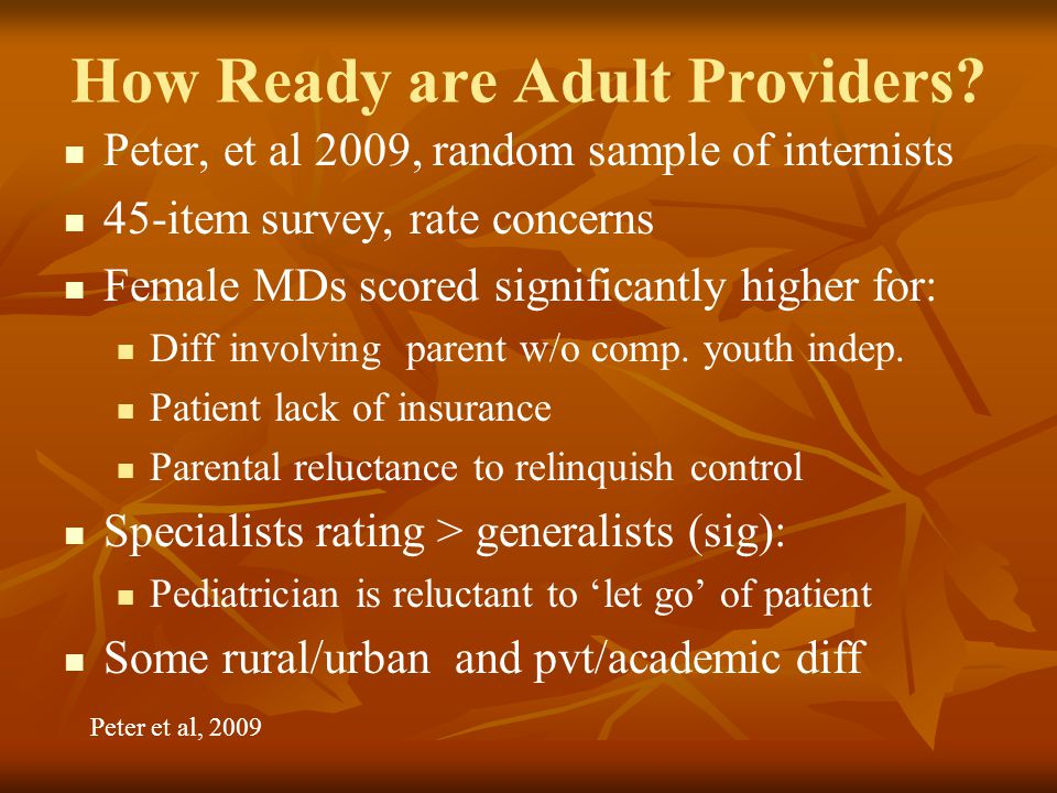 How Ready are Adult Providers