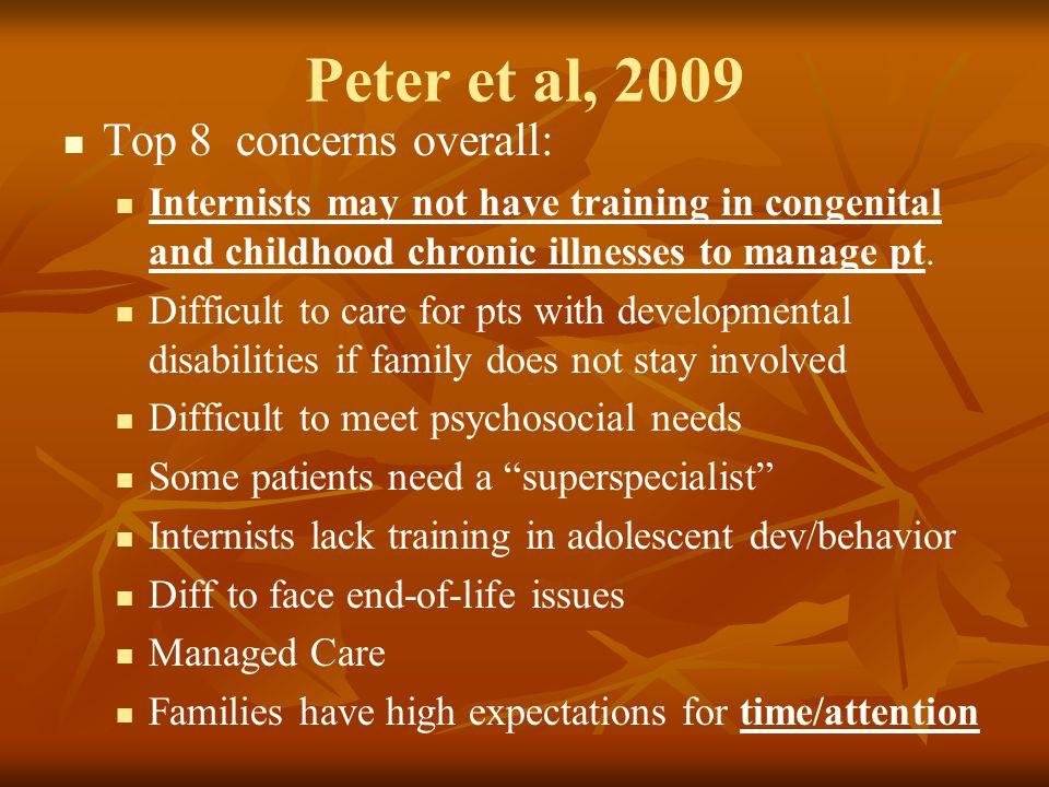 Peter et al, 2009 Top 8 concerns overall: