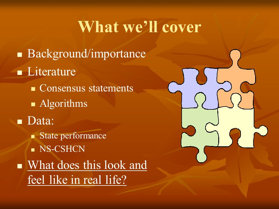 What we'll cover Background/importance Literature Data: