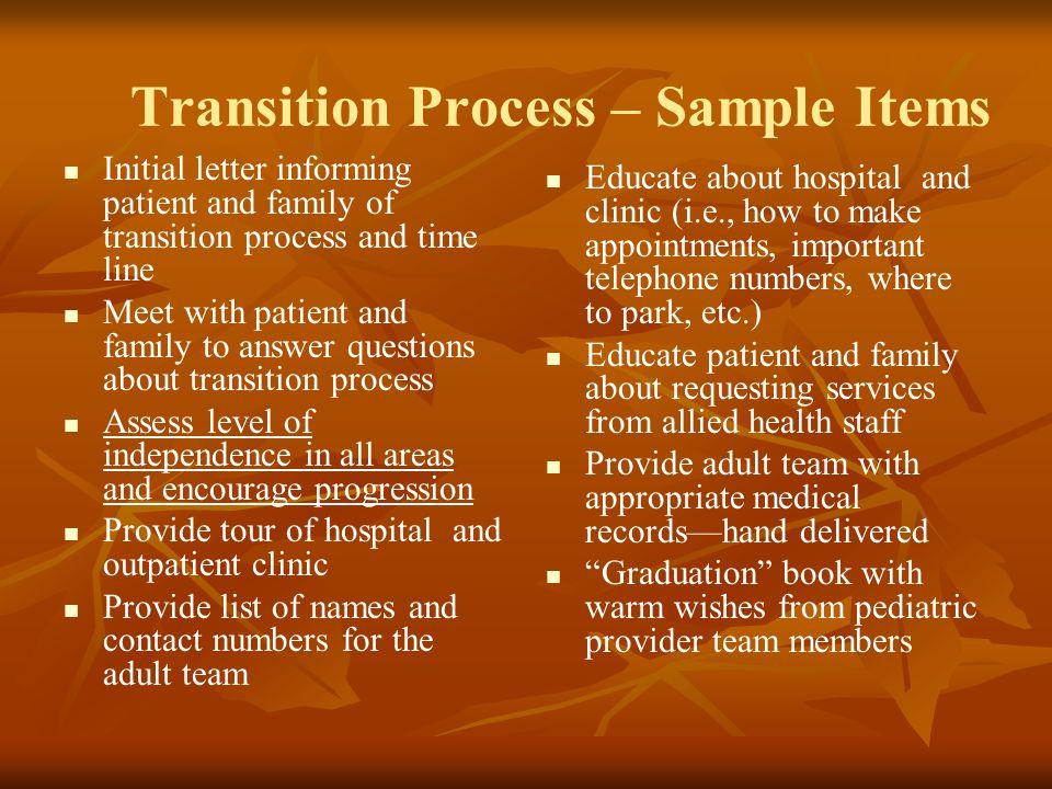 Transition Process – Sample Items