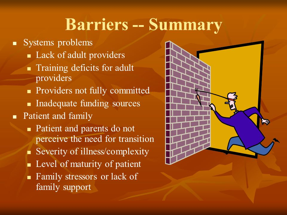 Barriers -- Summary Systems problems Lack of adult providers