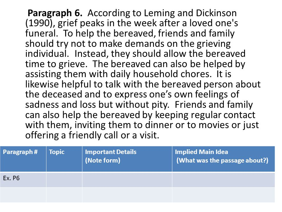Paragraph 6. According to Leming and Dickinson (1990), grief peaks in the week after a loved one s funeral. To help the bereaved, friends and family should try not to make demands on the grieving individual. Instead, they should allow the bereaved time to grieve. The bereaved can also be helped by assisting them with daily household chores. It is likewise helpful to talk with the bereaved person about the deceased and to express one's own feelings of sadness and loss but without pity. Friends and family can also help the bereaved by keeping regular contact with them, inviting them to dinner or to movies or just offering a friendly call or a visit.