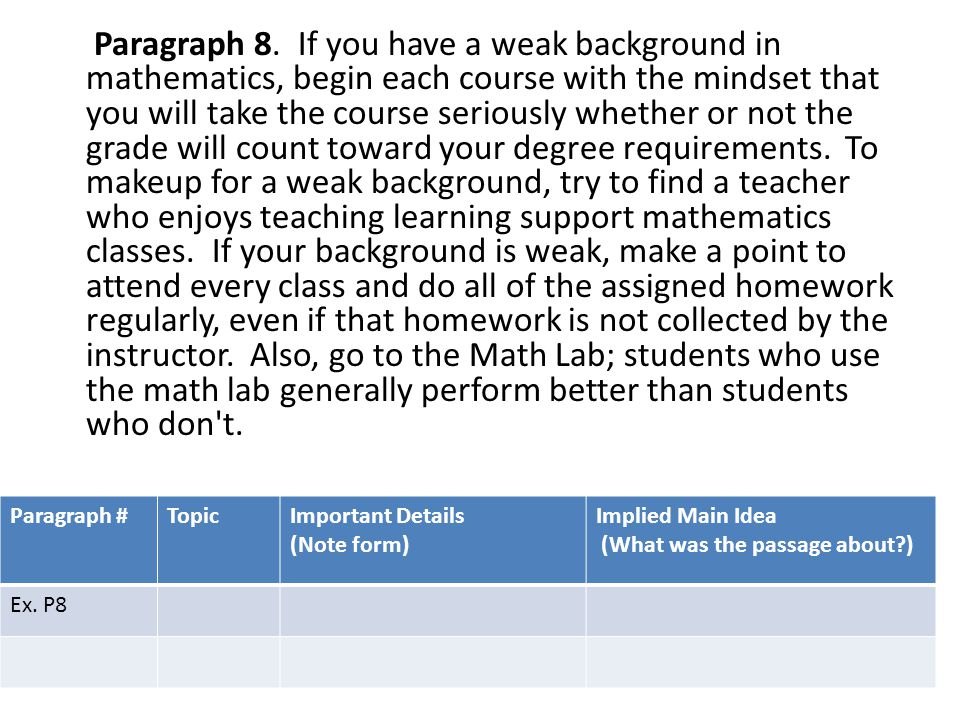 Paragraph 8. If you have a weak background in mathematics, begin each course with the mindset that you will take the course seriously whether or not the grade will count toward your degree requirements. To makeup for a weak background, try to find a teacher who enjoys teaching learning support mathematics classes. If your background is weak, make a point to attend every class and do all of the assigned homework regularly, even if that homework is not collected by the instructor. Also, go to the Math Lab; students who use the math lab generally perform better than students who don t.