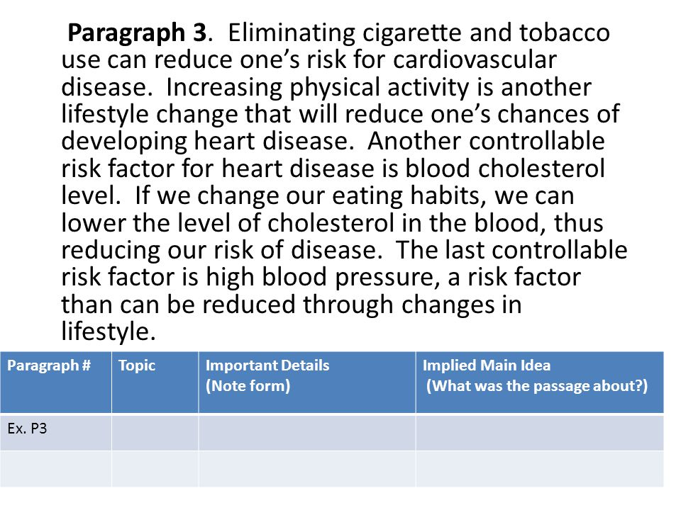 Paragraph 3. Eliminating cigarette and tobacco use can reduce one's risk for cardiovascular disease. Increasing physical activity is another lifestyle change that will reduce one's chances of developing heart disease. Another controllable risk factor for heart disease is blood cholesterol level. If we change our eating habits, we can lower the level of cholesterol in the blood, thus reducing our risk of disease. The last controllable risk factor is high blood pressure, a risk factor than can be reduced through changes in lifestyle.