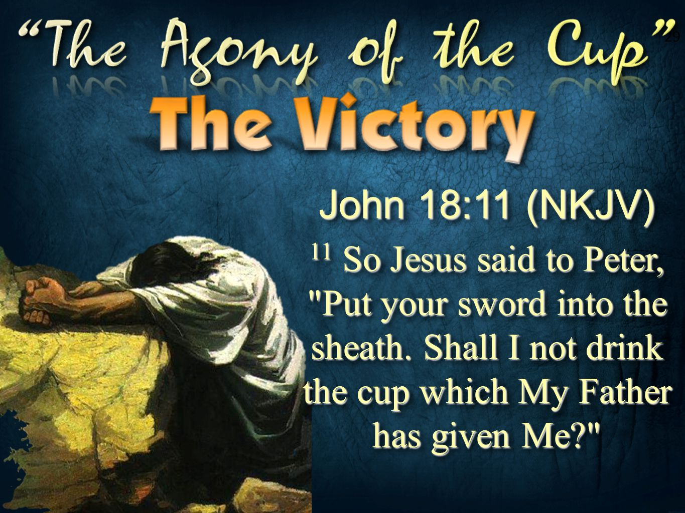 29 John 18:11 (NKJV) 11 So Jesus said to Peter, Put your sword into the sheath. Shall I not drink the cup which My Father has given Me