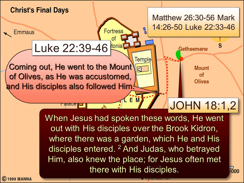 Matthew 26:30-56 Mark 14:26-50 Luke 22:33-46
