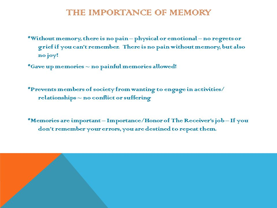 The Importance of Memory