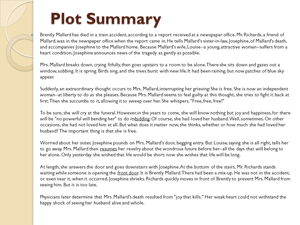 an overview of the story of an hour They should use the description boxes to explain what is  example plot  diagram for the story of an hour.