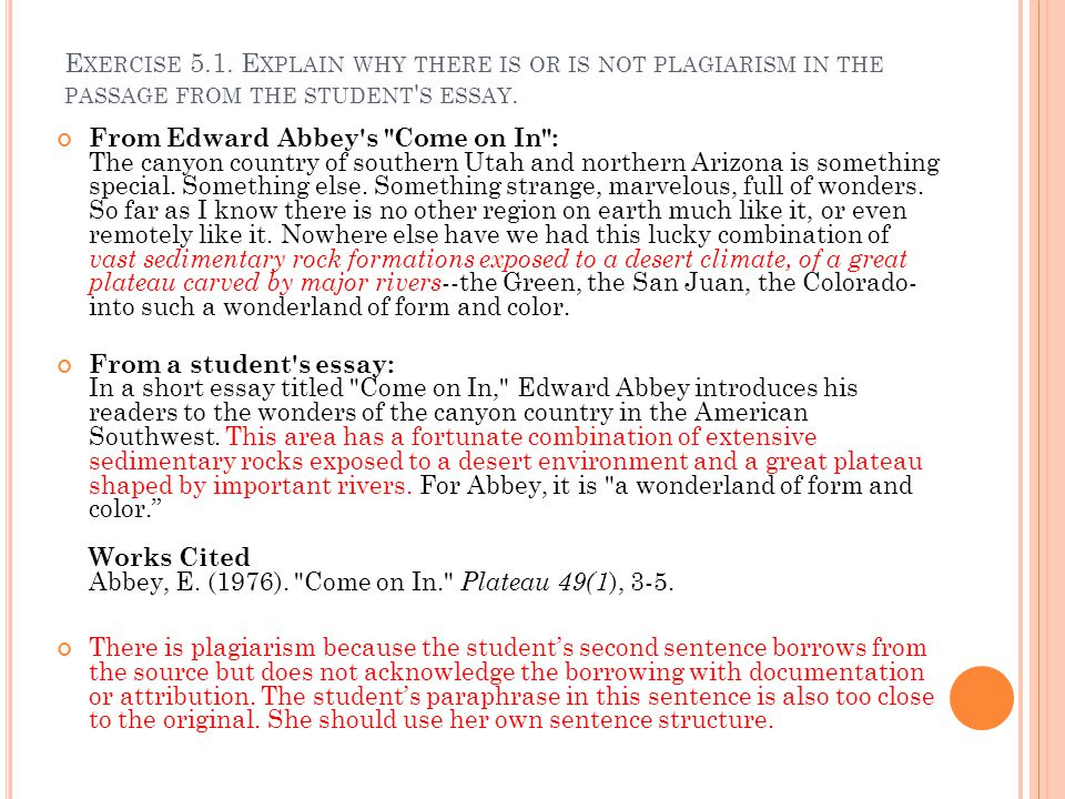 Exercise 5.1. Explain why there is or is not plagiarism in the passage from the student s essay.