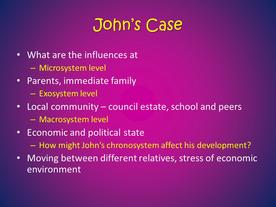 John's Case What are the influences at Parents, immediate family