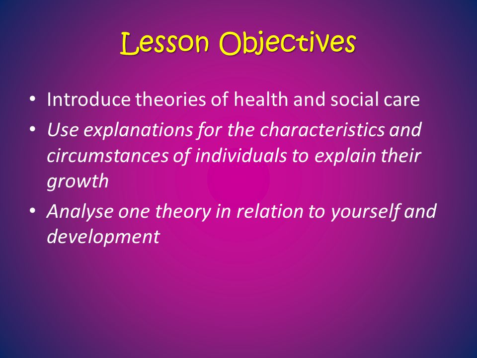 Lesson Objectives Introduce theories of health and social care