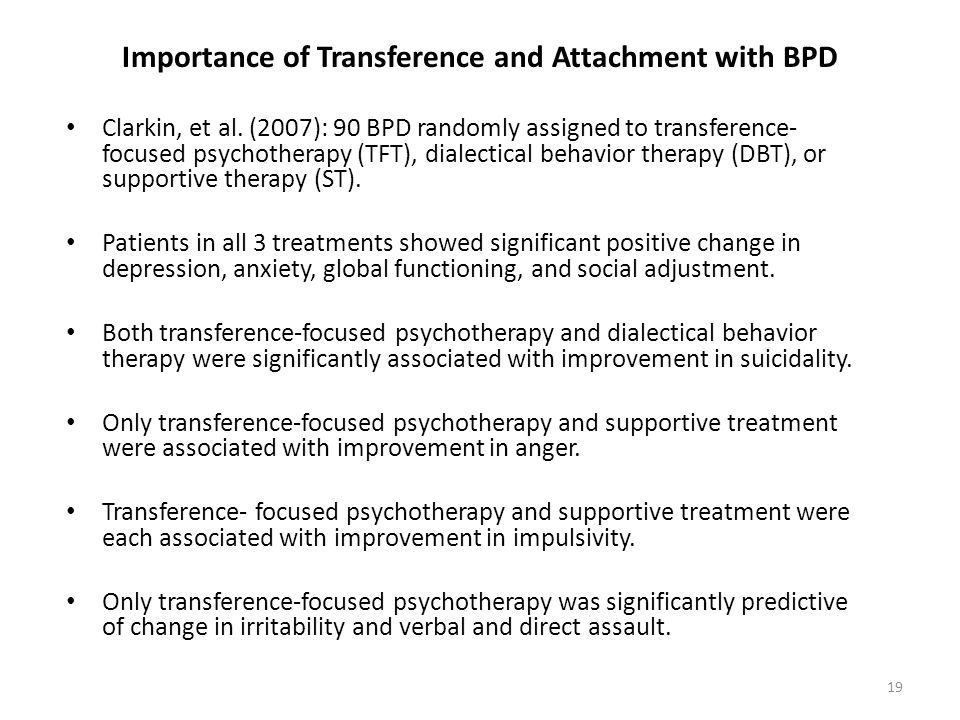 Importance of Transference and Attachment with BPD