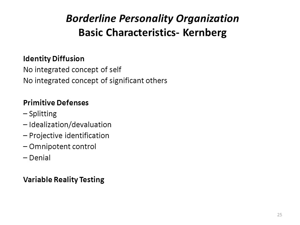 Borderline Personality Organization Basic Characteristics- Kernberg