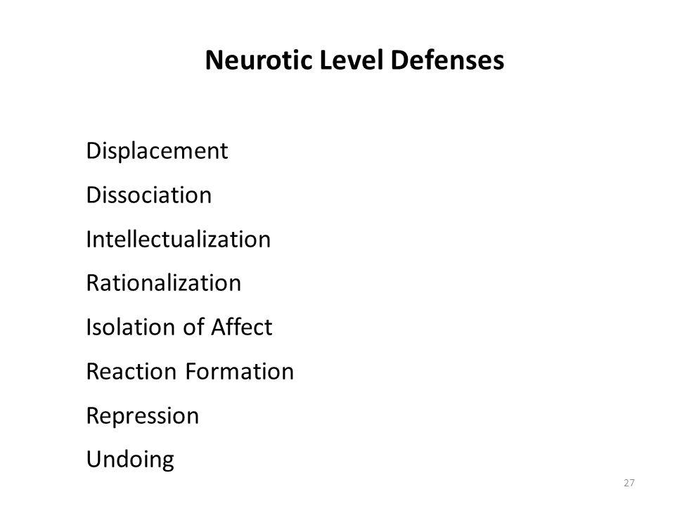 Neurotic Level Defenses