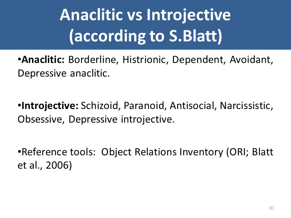 Anaclitic vs Introjective (according to S.Blatt)