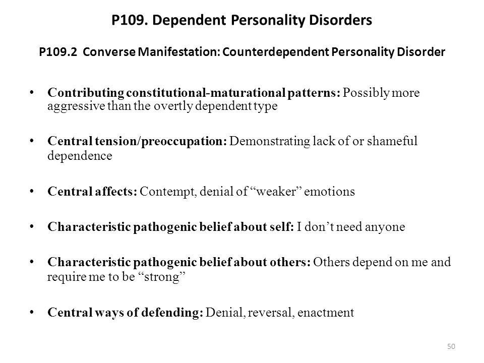 P109. Dependent Personality Disorders P109