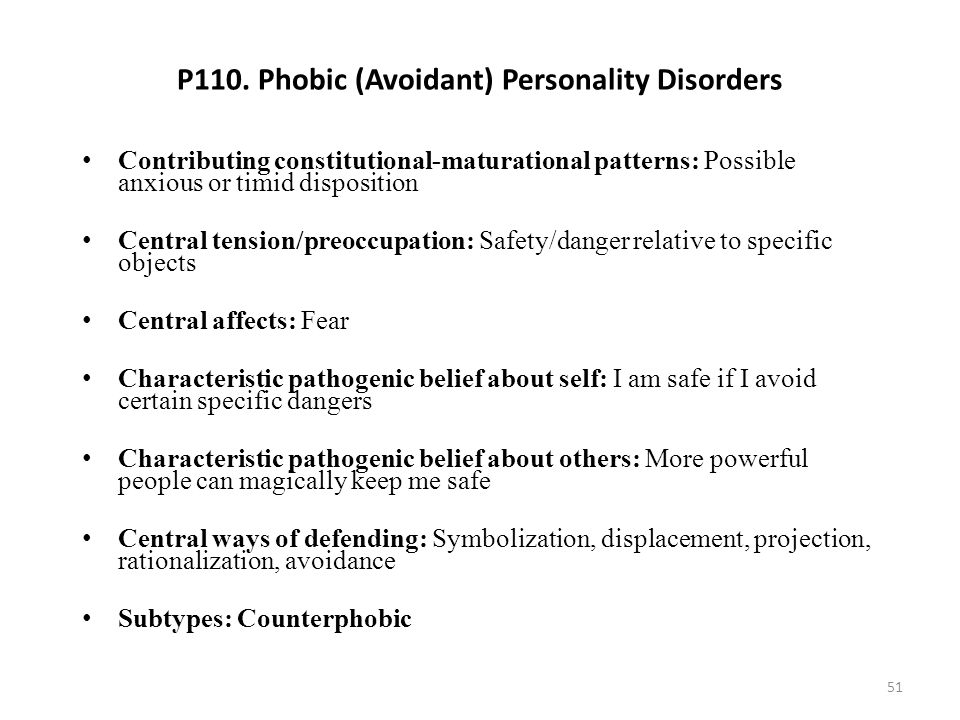 P110. Phobic (Avoidant) Personality Disorders