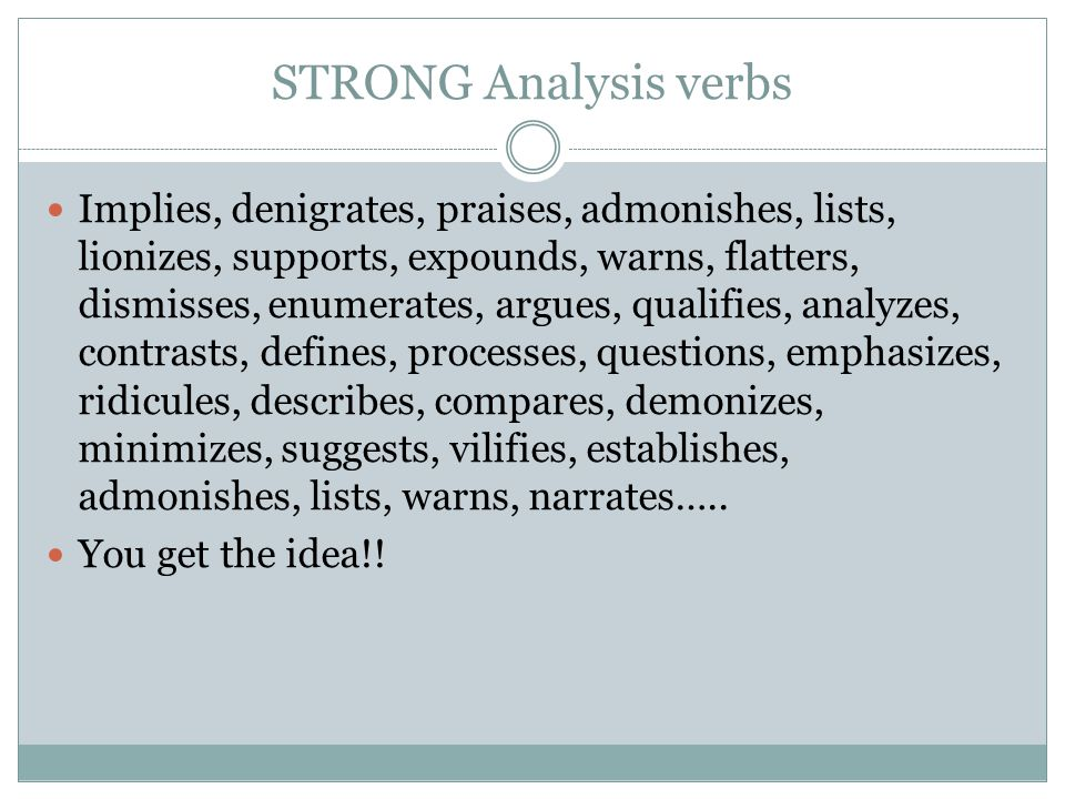 STRONG Analysis verbs