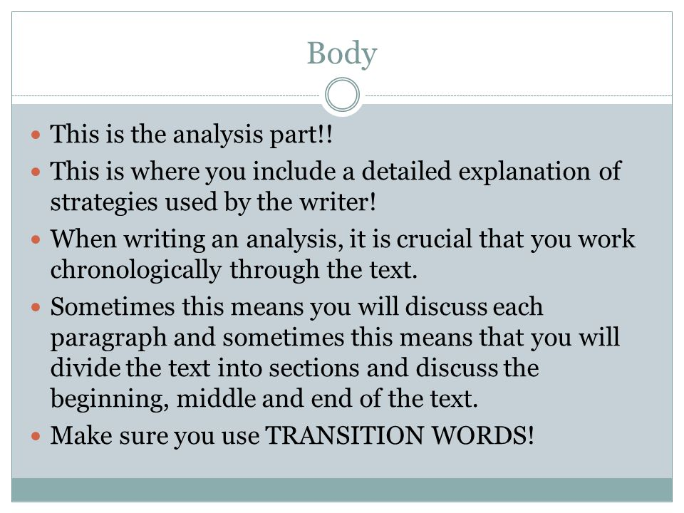 Body This is the analysis part!!