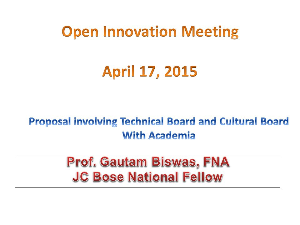 Open Innovation Meeting April 17, 2015