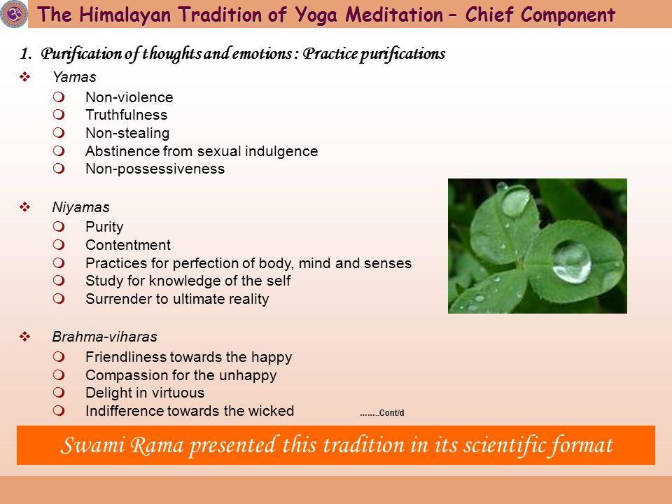 1. Purification of thoughts and emotions : Practice purifications