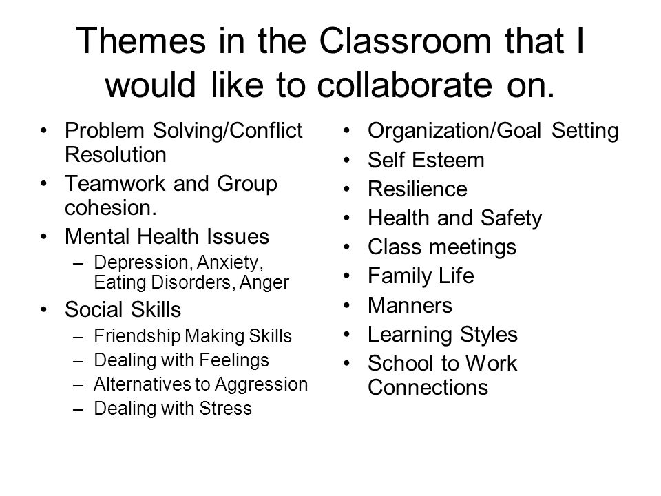 Themes in the Classroom that I would like to collaborate on.