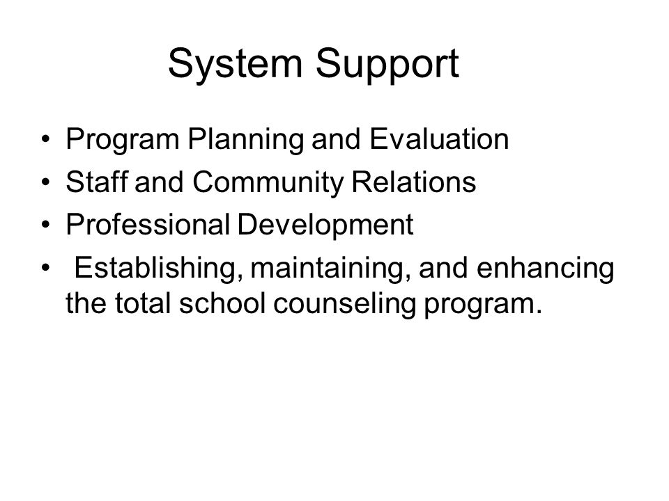 System Support Program Planning and Evaluation