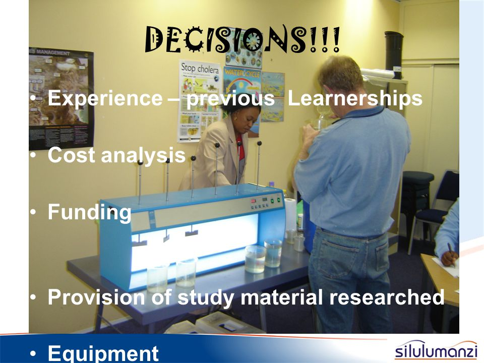 DECISIONS!!! Experience – previous Learnerships Cost analysis Funding