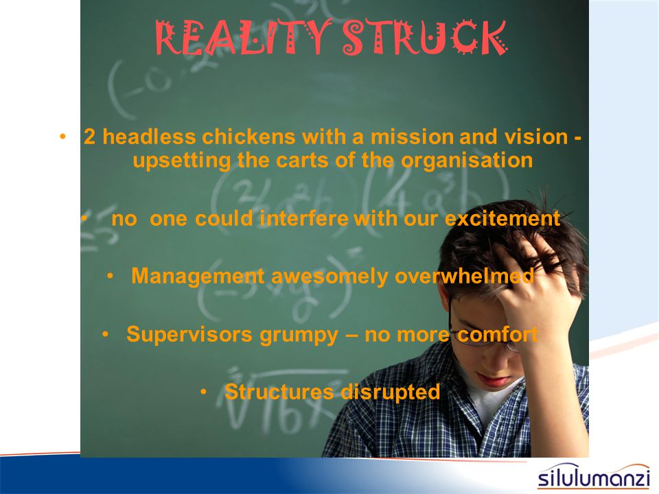 REALITY STRUCK 2 headless chickens with a mission and vision - upsetting the carts of the organisation.