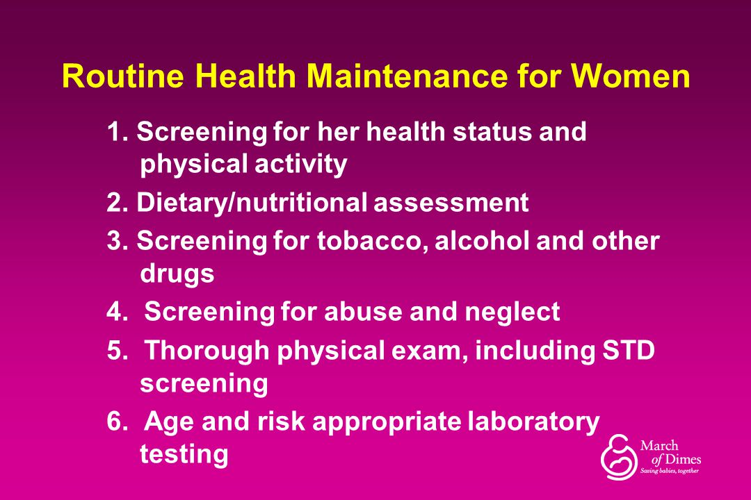 Routine Health Maintenance for Women