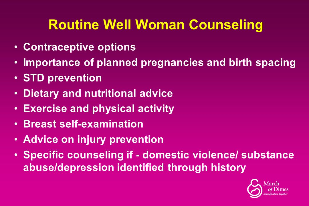 Routine Well Woman Counseling