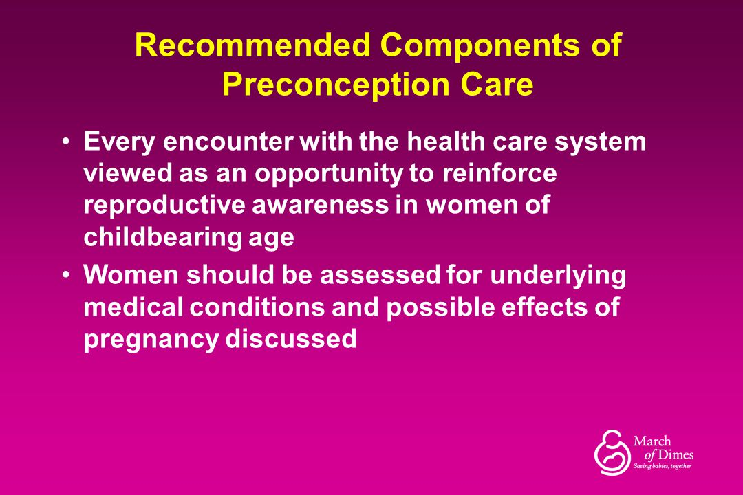 Recommended Components of Preconception Care