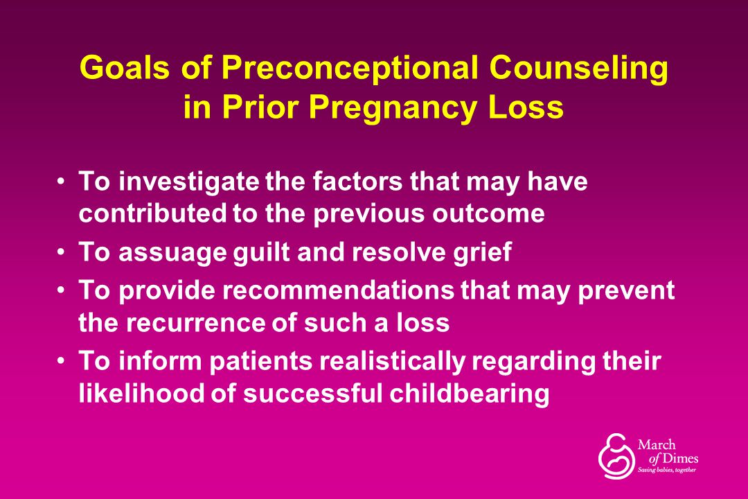 Goals of Preconceptional Counseling in Prior Pregnancy Loss