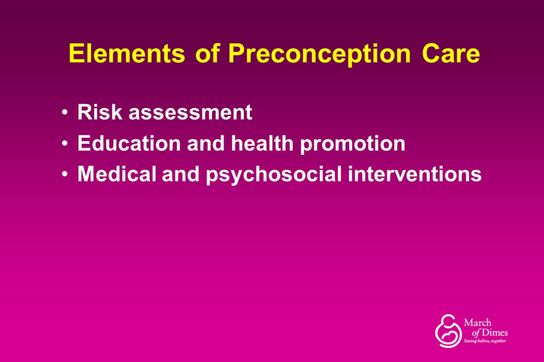 Elements of Preconception Care