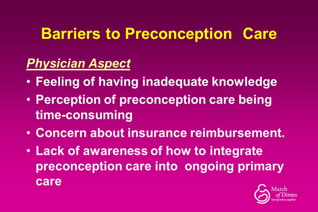 Barriers to Preconception Care