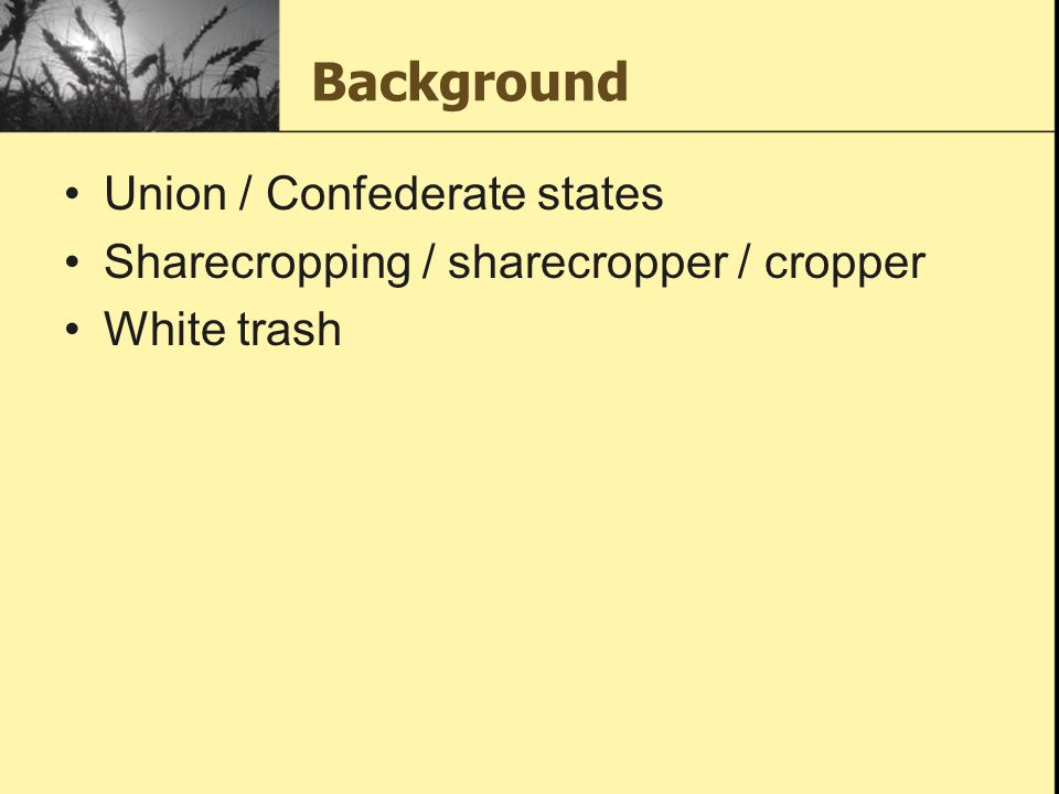 Background Union / Confederate states