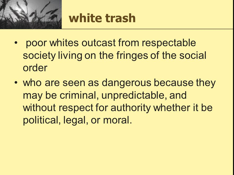 white trash poor whites outcast from respectable society living on the fringes of the social order.