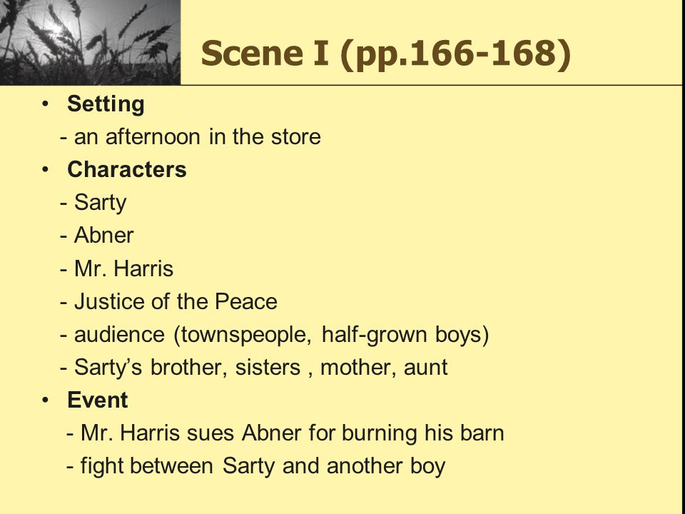 Scene I (pp.166-168) Setting - an afternoon in the store Characters