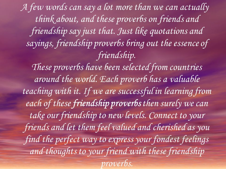 A few words can say a lot more than we can actually think about, and these proverbs on friends and friendship say just that.
