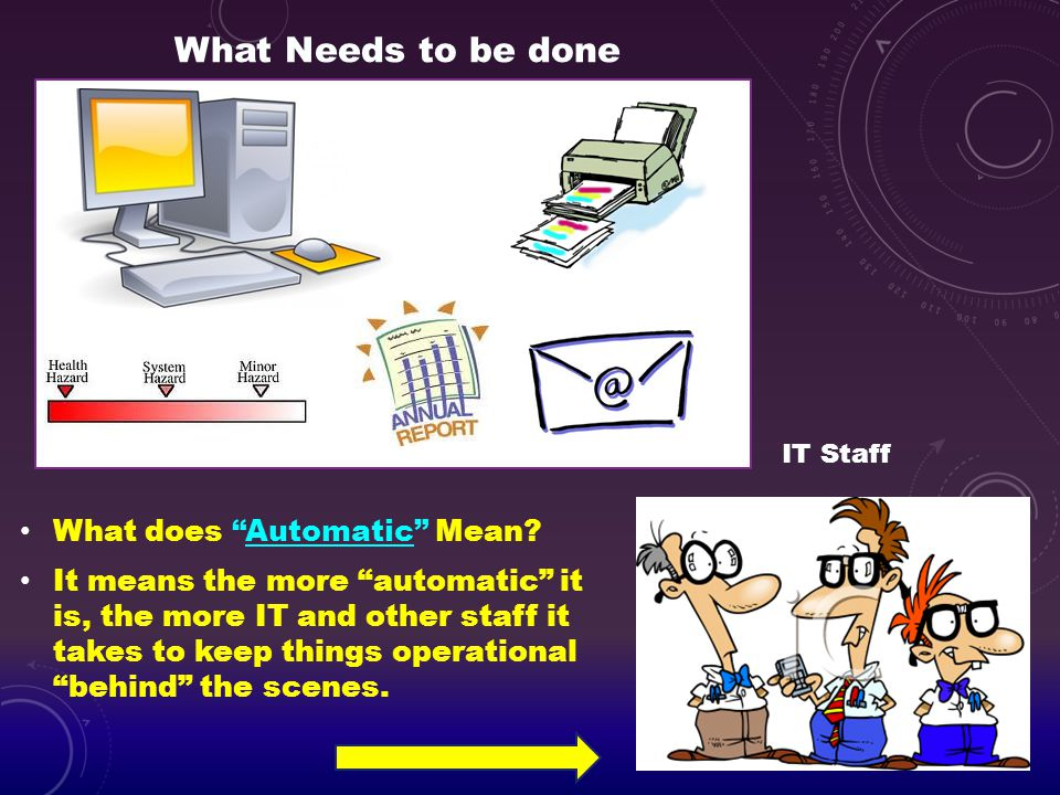 What Needs to be done What does Automatic Mean