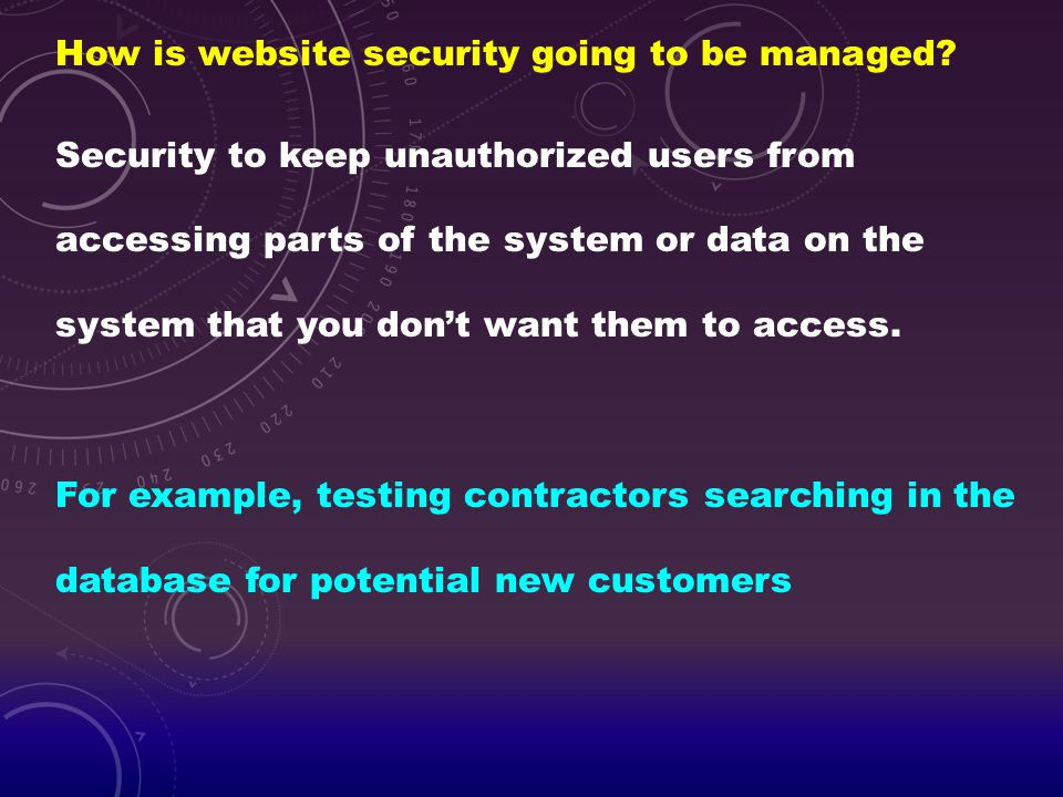 How is website security going to be managed